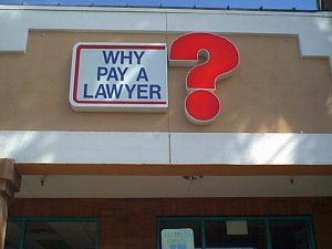 Early example of the WHY PAY A LAWYER?™ logo. Read our company profile.